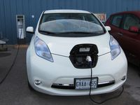 Nissan Leaf being charged photo by Jil McIntosh