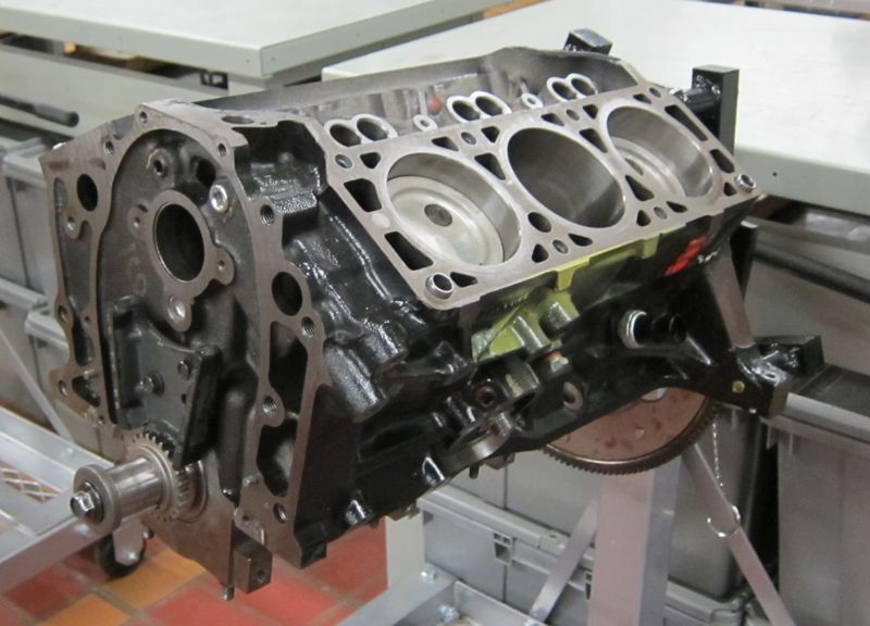 A V6 engine, showing the cylinders bored into it