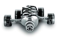 The crankshaft and pistons as they're configured in a boxer engine - photo courtesy Subaru