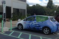 A Nissan Leaf being recharged at CAA's office - Photo courtesy CAA