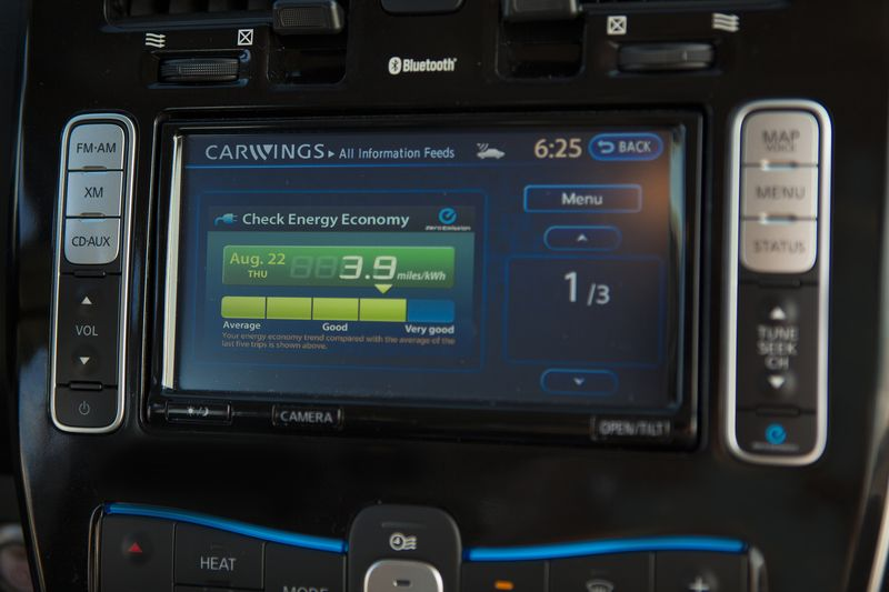 The Nissan Leaf's Carwings system enables communication between car and owner - photo courtesy Nissan