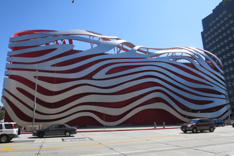 There's very little exterior signage on the Petersen Museum  but it's hard to miss.