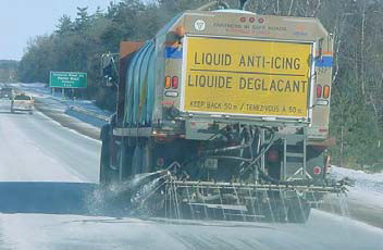 An anti-icing truck (Photo Ontario Ministry of Transportation)