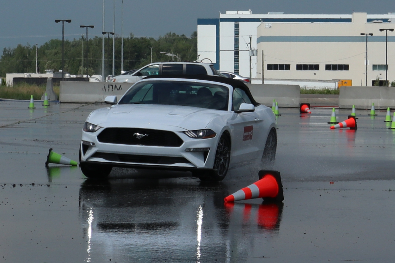 Testing tire grip on wet pavement