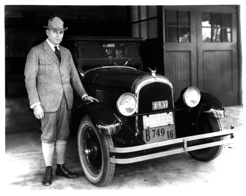 Walter Chrysler with his first car in 1924